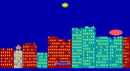 QBasic Gorillas - DOS - Direct Hit.png