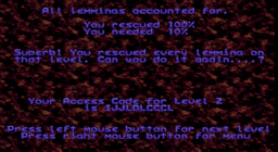 Lemmings - DOS - Success.png